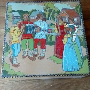 Russian (USSR) Handmade Wood Village Scene Box